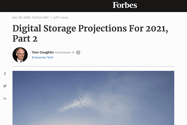 Forbes Digital Storage Projections for 2021