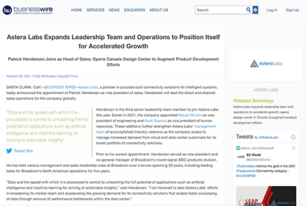Astera Labs Expands Leadership Team and Operations to Position Itself for Accelerated Growth